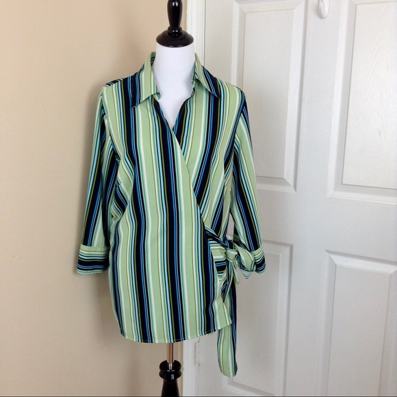 d3115435a07 Ashley Stewart Tops - Ashley Stewart striped wrap around blouse